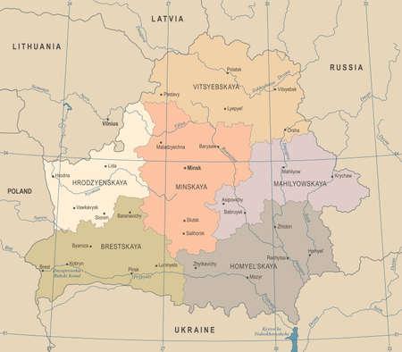 Belarus Map - Vintage High Detailed Vector Illustration Illustration