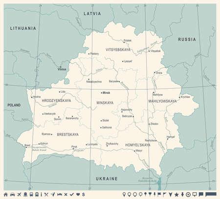 Blue green Belarus Map Vintage High Detailed Illustration