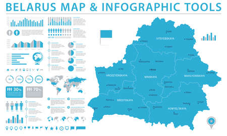 Belarus Map with detailed info graphic illustration