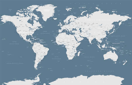 Political Gray scale World Map Vector illustration