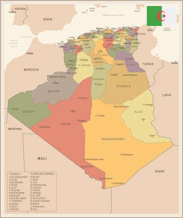 Algeria - vintage map and flag - High Detailed Vector Illustration