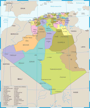 Algeria Map - High Detailed Vector Illustration Çizim