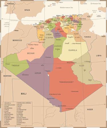 Algeria Map - Vintage High Detailed Vector Illustration