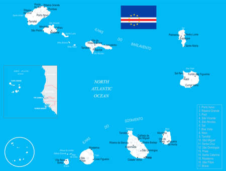 Cape Verde map and flag - High Detailed Vector Illustration
