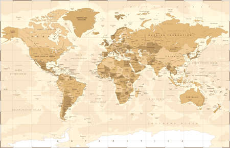 Political vintage golden world map vector illustration.