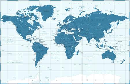 Political Blue World Map Vector illustration Illustration