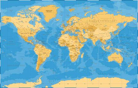 Ilustración de vector de mapa de mundo azul dorado vintage político.