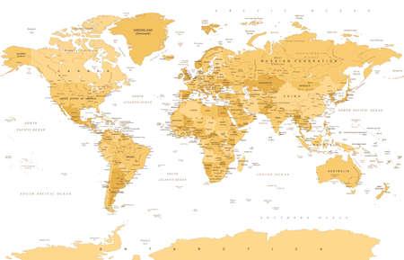 Political vintage golden world map vector illustration.