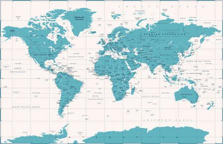 Political vintage world map vector illustration.
