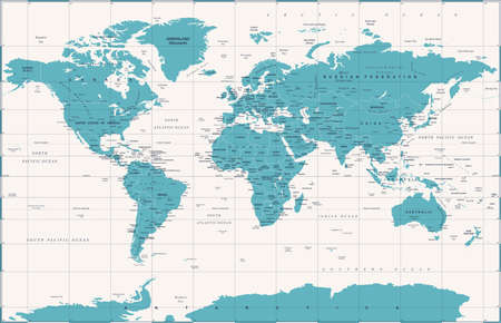 Political vintage world map vector illustration.
