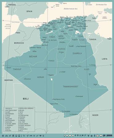 Algeria map - high detailed vector illustration. Çizim