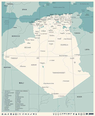 Algeria map - high detailed vector illustration