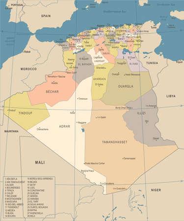 Algeria map - vintage high detailed vector illustration.