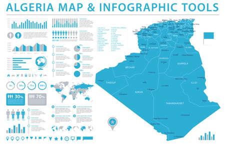 Algeria Map - detailed info graphic vector illustration.