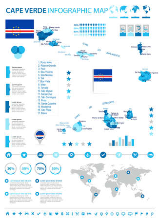 Cape Verde infographic map and flag - high detailed vector illustration.