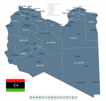 Libya map and flag - High Detailed Vector Illustration Illustration