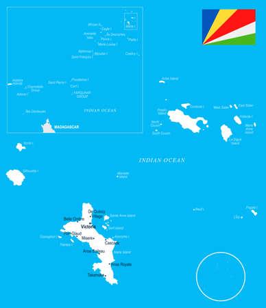Seychelle map and flag - high detailed vector illustration. Illustration