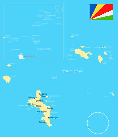 Seychelle map and flag - high detailed vector illustration. Illustration