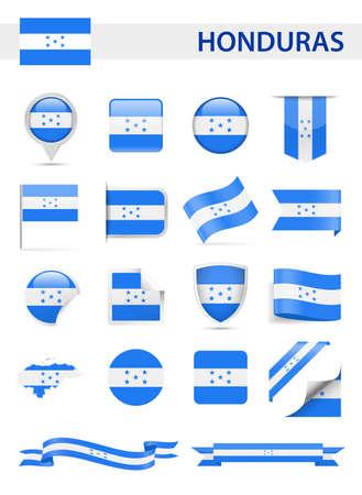 Honduras Flag Set - Vector Illustration