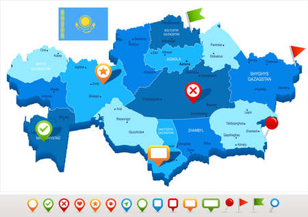Kazakhstan map and flag - High Detailed Vector Illustration