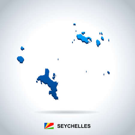 Seychelle map and flag - High Detailed Vector Illustration