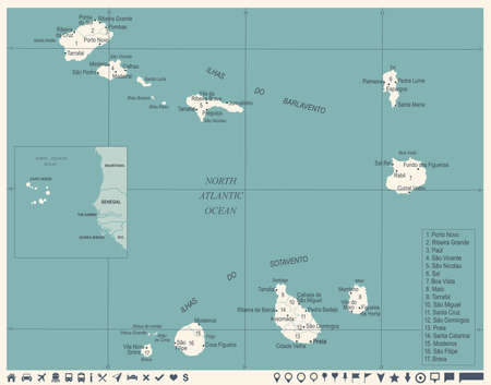 Cape Verde map - vintage high detailed vector illustration.