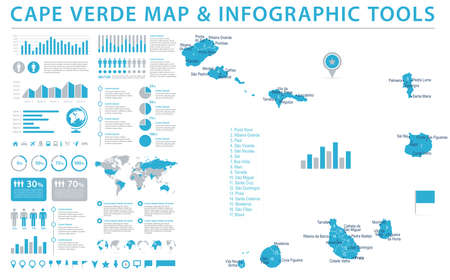 Cape Verde Map - Detailed Info Graphic Vector Illustration Vectores