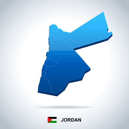 Jordan map and flag - High Detailed Vector Illustration