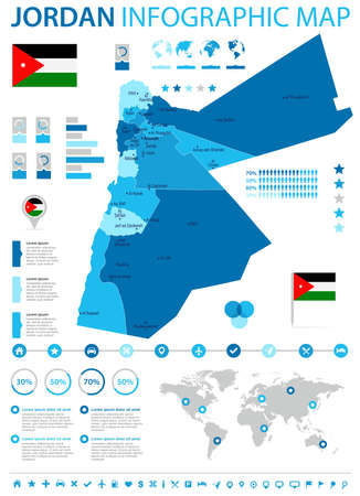 Jordan infographic map and flag - high detailed vector illustration.