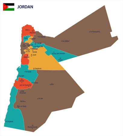 Jordan map and flag - High Detailed Vector Illustration