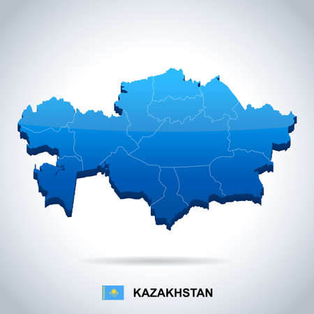 Kazakhstan map and flag in High Detailed Vector Illustration.