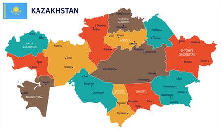 Mapa de Kazajstán y bandera - alta detallada ilustración vectorial Ilustración de vector