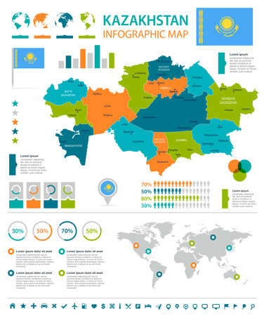 Kazakhstan info graphic map and flag  High Detailed Vector Illustration