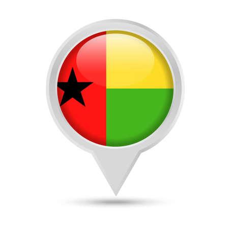 Guinea-Bissau Flag Round Pin Vector Icon - Illustration