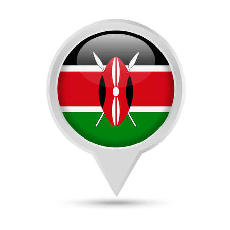Kenya Flag Round Pin Vector Icon Vettoriali