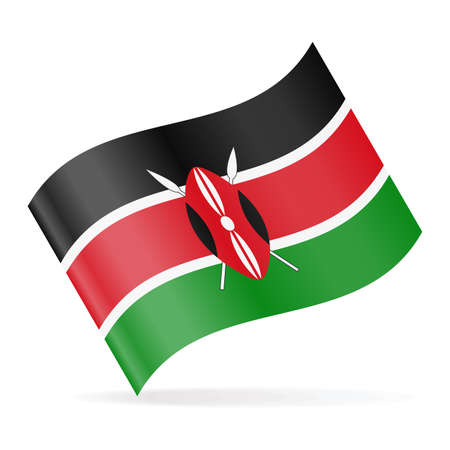 Kenya Flag Vector Waving Icon