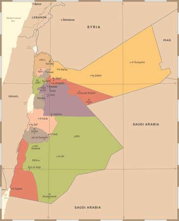 Jordan Map - Vintage High Detailed Vector Illustration