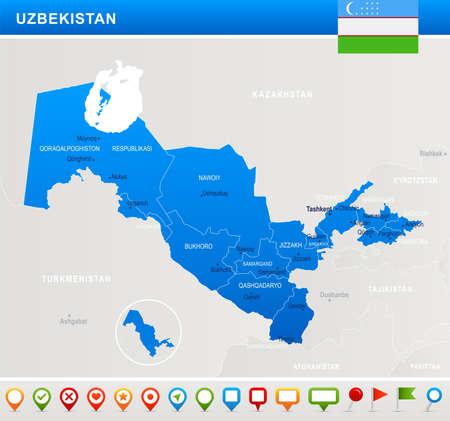 Uzbekistan map and flag. High Detailed Vector Illustration Illustration