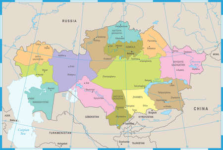 Kazakhstan Map - High Detailed Vector Illustration 向量圖像
