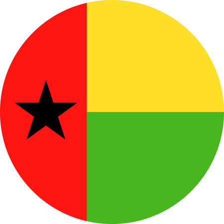 Guinea-Bissau Flag Vector Round Flat Icon - Illustration