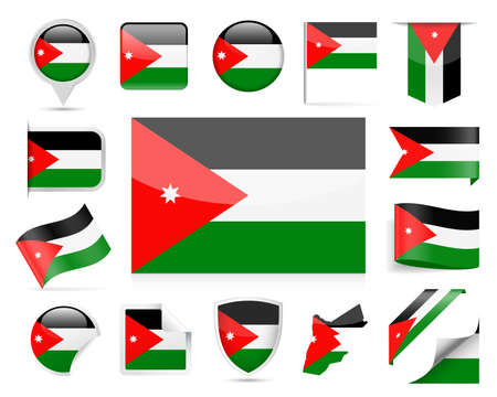 Jordan flag icon set. Vector Illustration on white background.