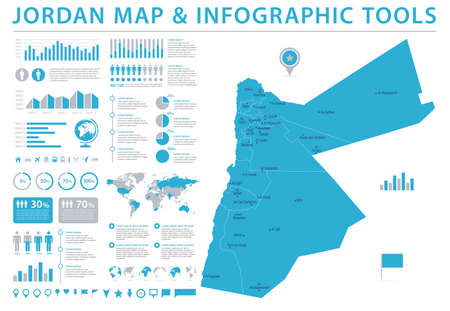 Jordan Map - Detailed Info Graphic Vector Illustration