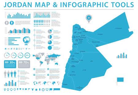 Jordan Map - Detailed Info Graphic Vector Illustration