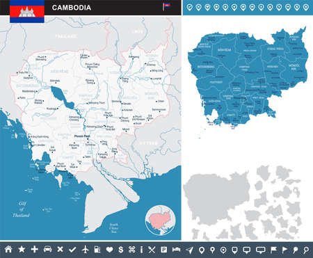 Cambodia map and flag - High Detailed Vector Illustration