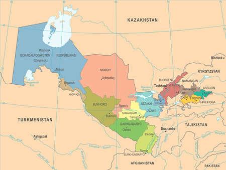 Uzbekistan Map - High Detailed Vector Illustration Illustration