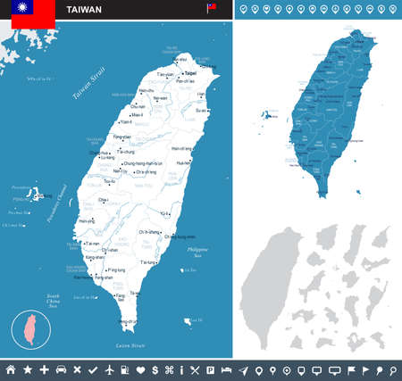Taiwan map and flag - High Detailed Vector Illustration