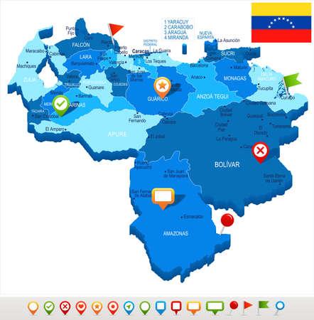 Venezuela map and flag - High Detailed Vector Illustration
