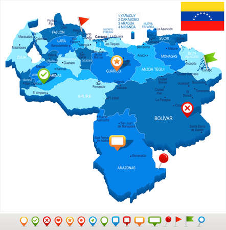 Venezuela map and flag - High Detailed Vector Illustration