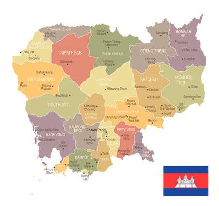 Cambodja - vintage kaart en vlag - hoog gedetailleerde vectorillustratie