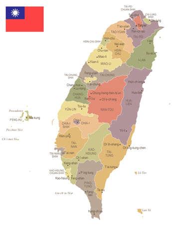 Taiwan - vintage kaart en vlag - hoog gedetailleerde vectorillustratie Stockfoto - 96236060